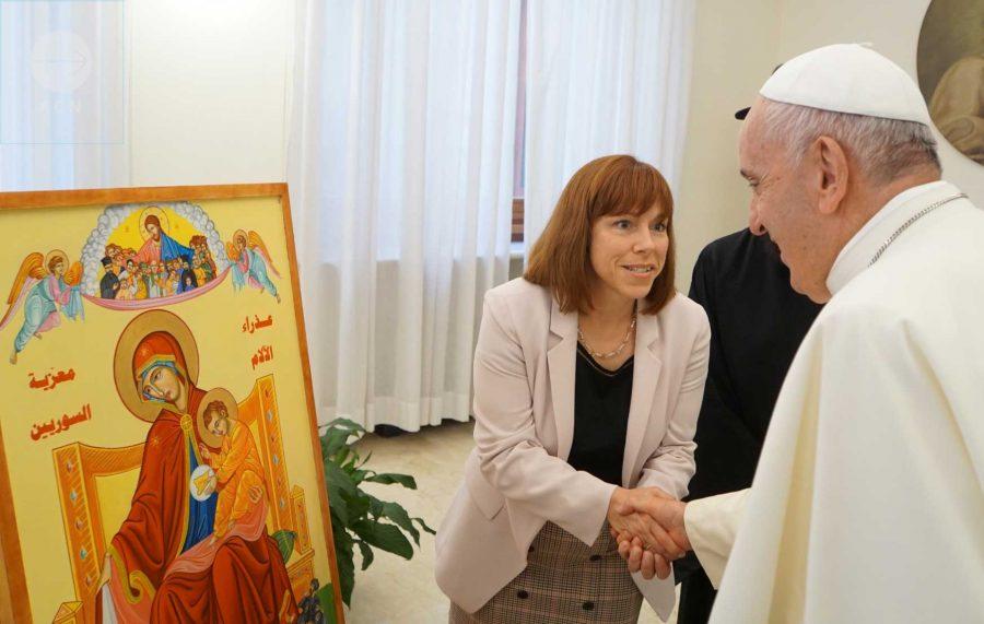 Marie-Claude Lalonde rencontre le pape